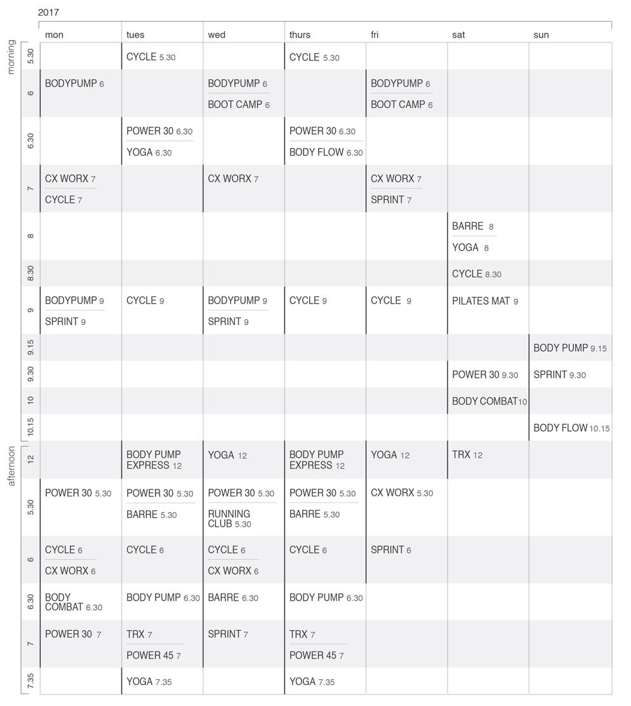class schedules – Class Schedule